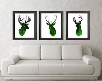 Antler, Stag, Deer Print Set of 3 - Minimalist Art - Watercolor Poster Silhouette Art - Print - Wall Decor, Home Decor, Green (13)