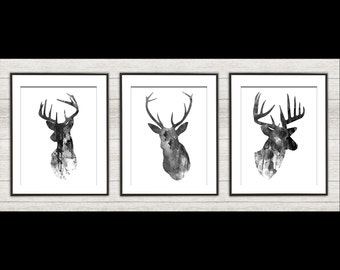 Antler, Stag, Deer Print Set of 3 - Minimalist Art - Watercolor Poster Silhouette Art - Print - Wall Decor, Home Decor, Gifts (14)