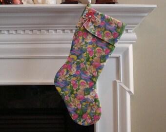 EASTER Stocking - Bunnies & Tulips - Basket Alternative - Novelty