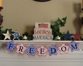 July 4th Banner - FREEDOM - Star Shape