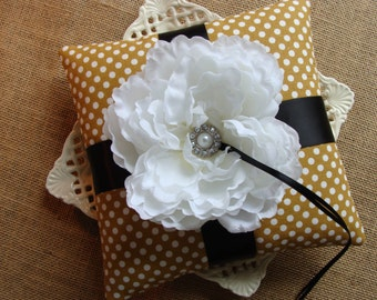 Wedding Ring Bearer Pillow - White Peony on Gold & White Polka Dots