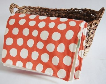 Organic Baby Blanket/ Eco Friendly Kids Bedding/ Burnt Orange With White Dots/ Unisex/ Made To Order