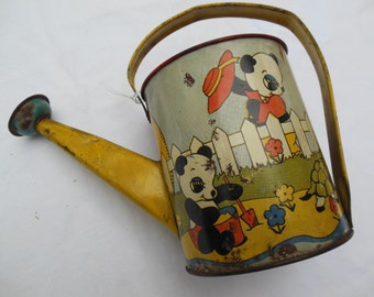 Tin Litho Watering Can By Ohio Art, Panda Bears