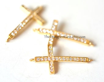 One Curved 18kt Gold Vermeil Cross Charm with Cubic Zirconia Rhinestones 26 x 12mm