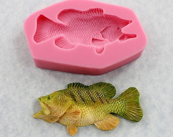 Fish Silicone Mold Fresh Water Bass Mould Resin Polymer Clay Chocolate Fondant Candy Wax (342)