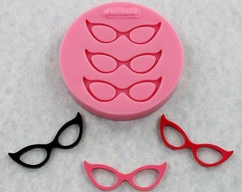 Cats Eye Glasses Mold Silicone Mould Resin Polymer Clay Fondant Candy (347}