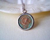 Coin Jewelry. Celtic Half Penny in Sterling Silver Necklace. Unique Gift