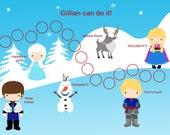 Personalized Children's Incentive Chart, Reward Chart, Ice Princess, Printable DIY