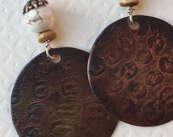 Copper Disc Earrings, Primitive Earrings, Turquoise Earrings, Tribal Earrings