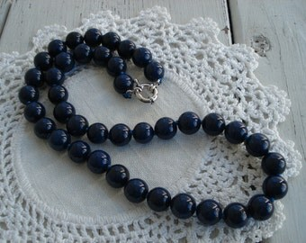Vintage Inspired 18 Inch Lapis Lazuli Gemstone Beads Beaded Necklace