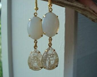 Vintage White Opal Art Deco Crystal Glass Teardrop Gold Dangle Earrings