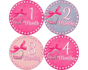 Monthly Baby Stickers, Girls First Year Photo Props, Baby Month Stickers, Baby Announcement, Monthly Photos, Baby Gift, Hearts (G149)