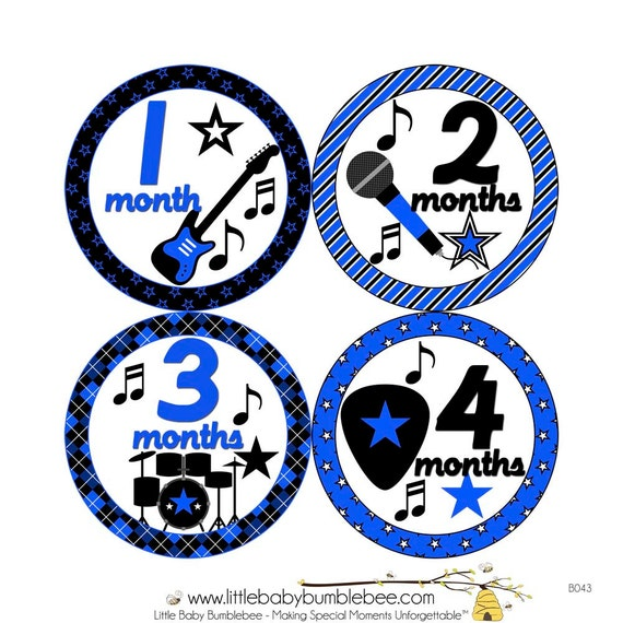 Monthly Baby Stickers, Boys First Year Photo Props, Baby Month Stickers, Baby Announcement, Monthly Photos, Baby Gift, Music (B043)