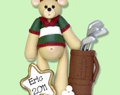 GOLFER  Bear Personalized Christmas Ornament -  Handmade Polymer Clay