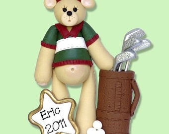 GOLFER  Bear Personalized Christmas Ornament -  Handmade Polymer Clay