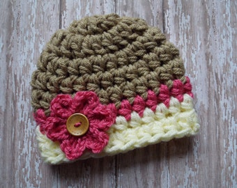 Chunky baby hat for girls - photo prop - chunky baby hat - striped baby hat - baby shower gift - bringing baby home - made to order