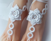 Barefoot sandals in white color with cristal beads