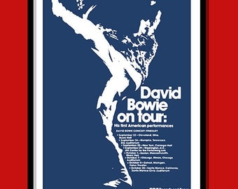David Bowie Poster. First US tour promo. Bowie wall art. Tour poster. Gig poster. Classic rock.vintage rock poster. A2 size. Vintage Bowie