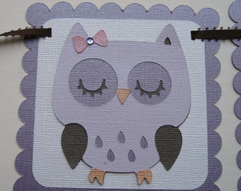 PRETTY PLUMS OWL it's a girl Baby Shower Banner Made to Order