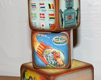 Vintage Blocks for Boys Features Robots, Superman, Airplane, Rocket
