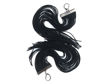 Black Long Fringe Earrings / Shoulder Duster Statement Earrings / Tassel Earrings / Chandelier Earrings