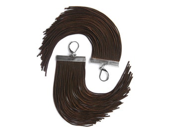 Brown Short Fringe Earrings