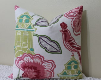 """SALE - SET of TWO - Emperor's Garden Blossom-20""""x20"""" Decorative Pillow Covers-Raspberry,Soft Pink,Chartreuse,Kiwi,Turquoise, Purple and Grey"""