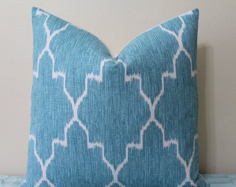 "SALE - SET Of TWO - 20"" x 20"" Monaco Ikat Print Pillow Covers in Mist/Turquoise"