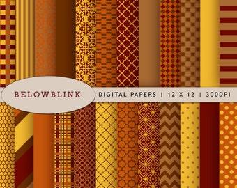Thanksgiving Digital Paper Pack, Scrapbook Papers, 24 jpg files 12 x 12 - Instant Download - DP150
