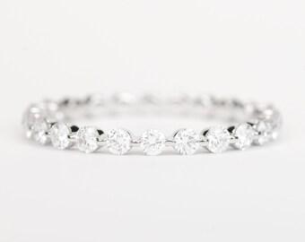 CERTIFIED - E-F, VVS- VS Diamond Wedding Band 14K White Gold