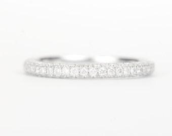 CERTIFIED - E-F, VVS - VS Trio Diamond Wedding Band 14K White Rose or Yellow Gold