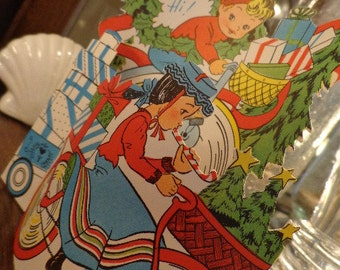 XL 3 D Card, Old Bike Pickers would love, Scrumptuous Deco Vibe Pristine 1940s Die Cut STANDS Up, Christmas Display, Unused MORE in shop