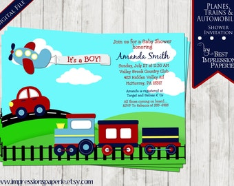 Planes Trains and Automobiles  - A Baby Shower Invitation