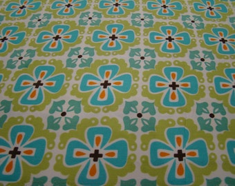 SALE Flowerbed in teal, Monaco Collection from Monaluna Fabrics, 1 yd
