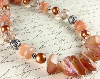 Peach Quartz Crystal Necklace - Titanium Crystal Quartz - Raw Stone Necklace - Statement Necklace - Peach Gemstones - Sterling Silver