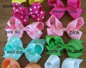 3 Large Grosgrain  Boutique Bows  You choose your 3 favorite colors,dots, and chevron, Back to School Bows, great value