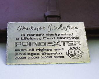 Personalized Etched Metal Wallet Card  - Wallet Card Insert - Card Carrying Poindexter, Geek, Nerd