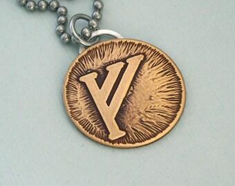 Gandalfs Rune - Etched Brass Disc on Stainless Steel Chain - Gandalfs Mark Unisex Necklace