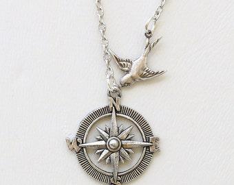 Necklace,Silver Necklace,Silver Compass Bird Necklace Steampunk Jewelry Necklace,Jewelry Gift