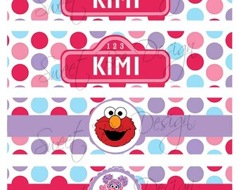 Abby Cadabby Sesame Street Water Bottle Labels- Custom Printable