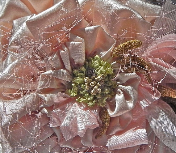BLUSH PINK SILK Charmeuse Wedding Millinery, Silk Fascinator,  Bridal Sash, Headband, Bridal Clip, Bridal Accessorie