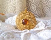 Vintage Perfume Compact Pendant Beeline Golden Coiled Rope Trinket Box Pill Box 1960s