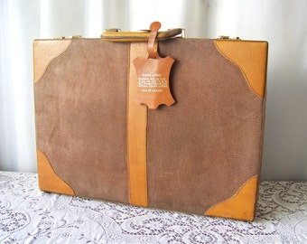 Vintage Leather Briefcase Genuine Leather Camel Color Briefcase KRRI Radio Station Leather Attache Case Travel Case Business Case 1980s