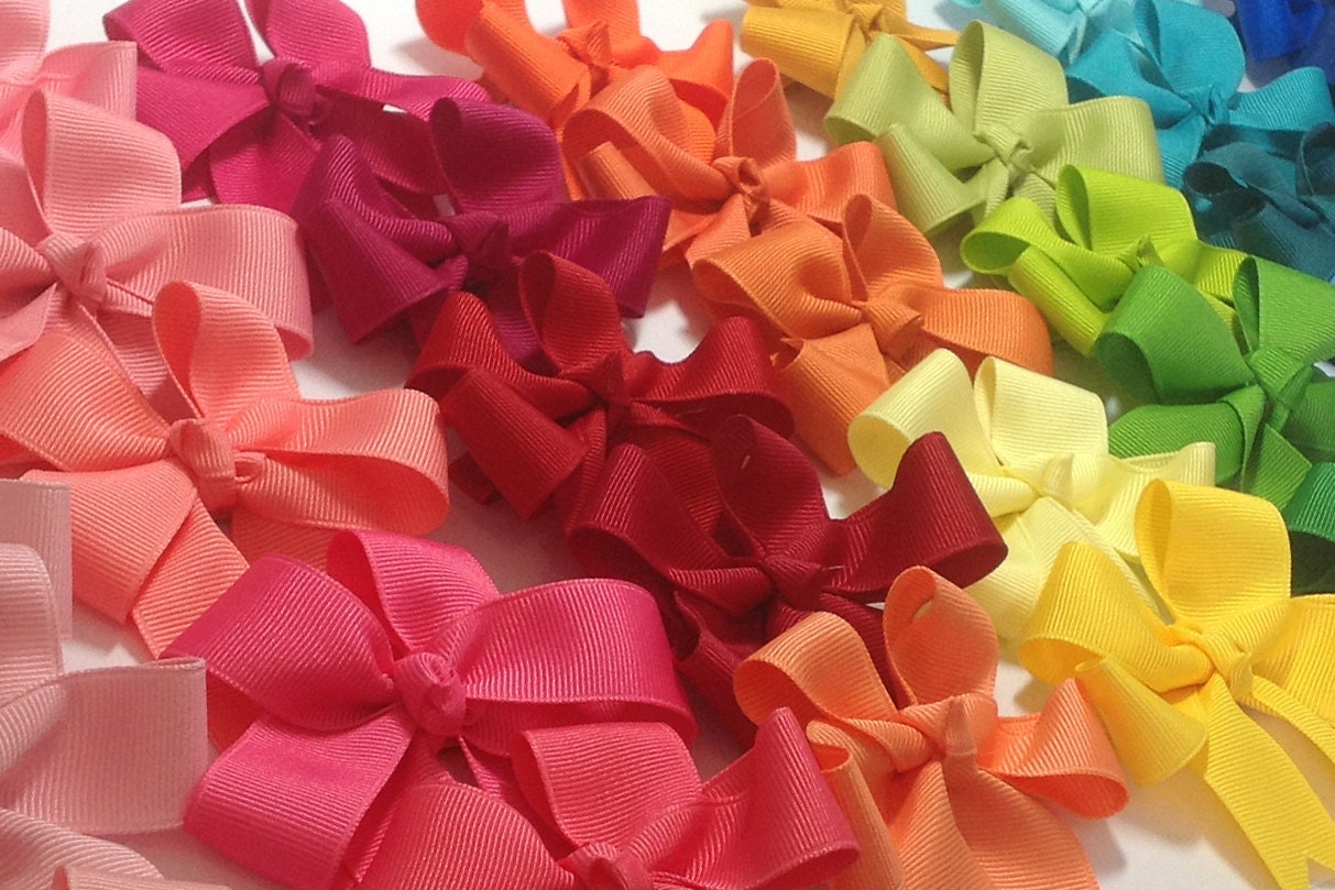 Set Of 10 Tails Down Hair Bows Your Choice Of By Elenasbows