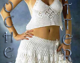 Crochet Woman Top and skirt Pattern only in PDF. Only charts!!