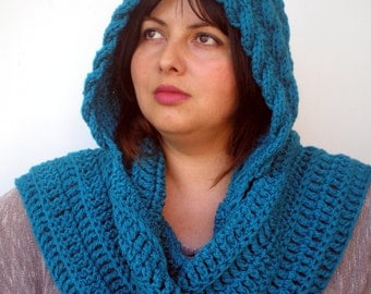 Rib  Marion Blue-Green  Hood Scarf soft  Hooded Scarf Hand Knit Chunky Cabled Hood NEW