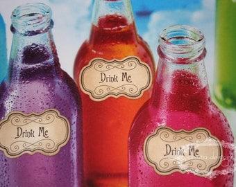 Alice in Wonderland - Drink Me/Eat Me Adhesive Labels/Tags -Vintage Appearance - Set of 20