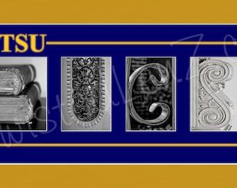 East Tennessee State University (ETSU) BUCS Alphabet Photo Collage