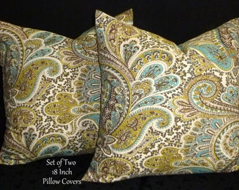 Decorative Pillows, Accent Pillows, Throw Pillows, Pillow Covers - Aqua and Chocolate - Two 18 Inch