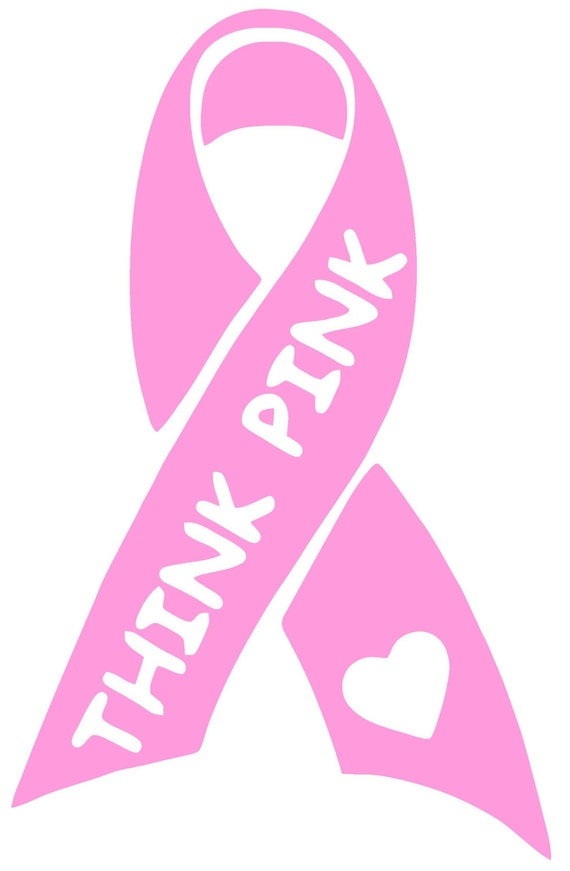 Breast Cancer Awareness Think Pink Ribbon Vinyl Decal T 60